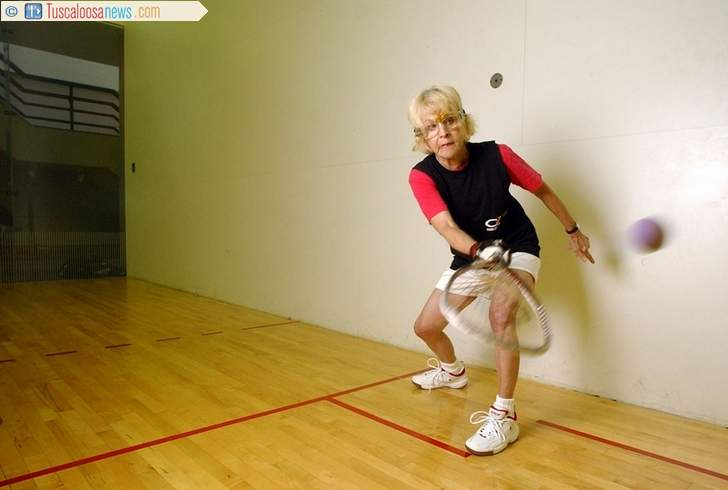 Mary Fish playing racquetball